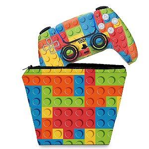 KIT Capa Case e Skin PS5 Controle - Lego Peça