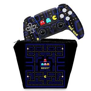 KIT Capa Case e Skin PS5 Controle - Pac Man