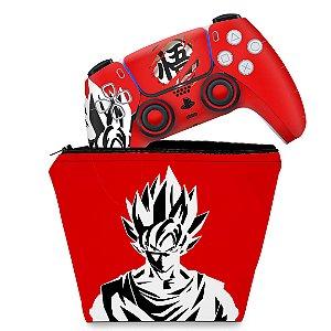 KIT Capa Case e Skin PS5 Controle - Dragon Ball Goku Kaiô
