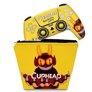 KIT Capa Case e Skin PS5 Controle - Cuphead