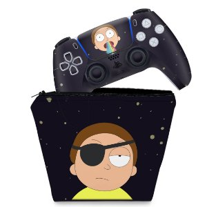 KIT Capa Case e Skin PS5 Controle - Morty Rick And Morty