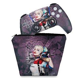 KIT Capa Case e Skin PS5 Controle - Arlequina Harley Quinn