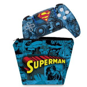 KIT Capa Case e Skin PS5 Controle - Superman Comics