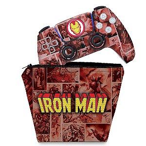 KIT Capa Case e Skin PS5 Controle - Homem De Ferro Comics
