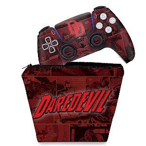 KIT Capa Case e Skin PS5 Controle - Daredevil Demolidor Comics