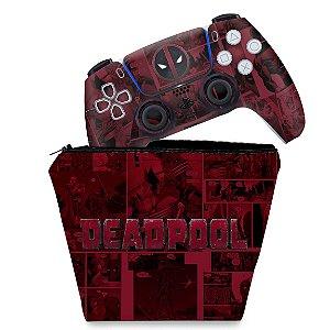 KIT Capa Case e Skin PS5 Controle - Deadpool Comics