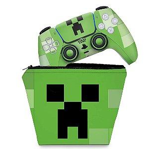 KIT Capa Case e Skin PS5 Controle - Creeper Minecraft
