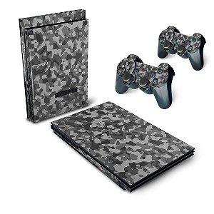 PS2 Slim Skin - Camuflada Cinza