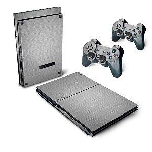 PS2 Slim Skin - Aço Escovado Cinza