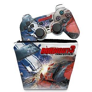 KIT Capa Case e Skin PS2 Controle - Burnout 3