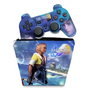 KIT Capa Case e Skin PS2 Controle - Final Fantasy X