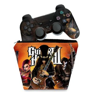 KIT Capa Case e Skin PS2 Controle - Guitar Hero III 3