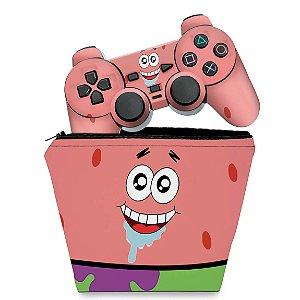 KIT Capa Case e Skin PS2 Controle - Patrick Bob Esponja