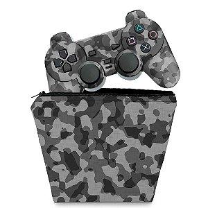 KIT Capa Case e Skin PS2 Controle - Camuflada Cinza