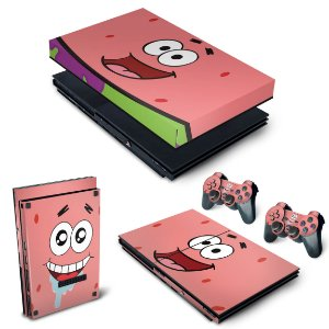 KIT PS2 Slim Skin e Capa Anti Poeira - Patrick Bob Esponja