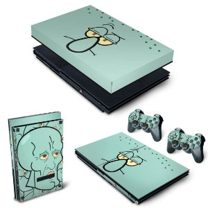 KIT PS2 Slim Skin e Capa Anti Poeira - Lula Molusco Bob Esponja