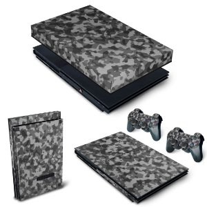 KIT PS2 Slim Skin e Capa Anti Poeira - Camuflada Cinza