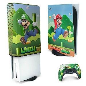 KIT PS5 Skin e Capa Anti Poeira - Super Mario