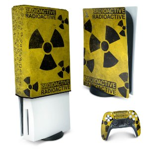 KIT PS5 Skin e Capa Anti Poeira - Radioativo