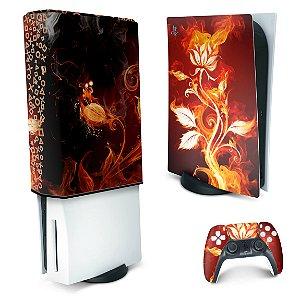 KIT PS5 Skin e Capa Anti Poeira - Fire Flower