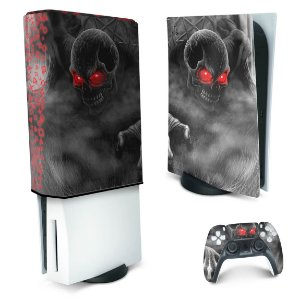 KIT PS5 Skin e Capa Anti Poeira - Caveira Skull