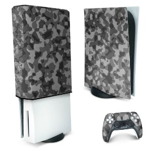 KIT PS5 Skin e Capa Anti Poeira - Camuflado Cinza