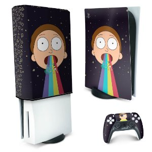 KIT PS5 Skin e Capa Anti Poeira - Morty Rick And Morty