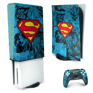 KIT PS5 Skin e Capa Anti Poeira - Superman Comics