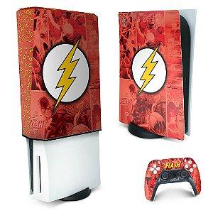 KIT PS5 Skin e Capa Anti Poeira - The Flash Comics