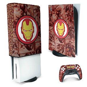KIT PS5 Skin e Capa Anti Poeira - Homem De Ferro Comics