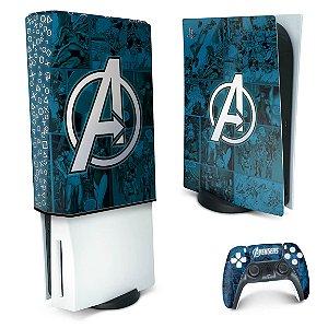 KIT PS5 Skin e Capa Anti Poeira - Avengers Vingadores Comics