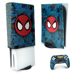 KIT PS5 Skin e Capa Anti Poeira - Homem-Aranha Spider-Man Comics
