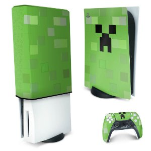 KIT PS5 Skin e Capa Anti Poeira - Creeper Minecraft