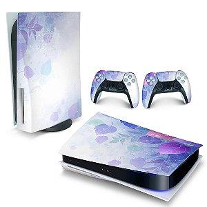 Skin PS5 - Folhas Lilás