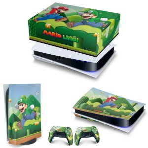 KIT PS5 Capa Anti Poeira e Skin -Super Mario