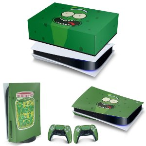 KIT PS5 Capa Anti Poeira e Skin -Pickle Rick And Morty
