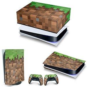 KIT PS5 Capa Anti Poeira e Skin -Minecraft