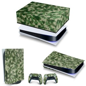 KIT PS5 Capa Anti Poeira e Skin -Camuflado Verde