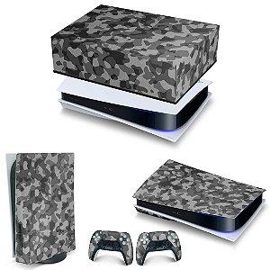 KIT PS5 Capa Anti Poeira e Skin -Camuflado Cinza