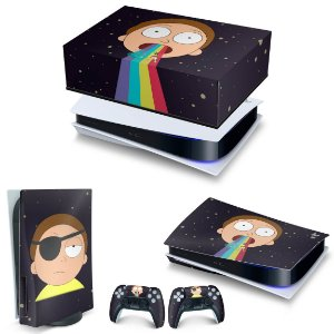 KIT PS5 Capa Anti Poeira e Skin -Morty Rick And Morty