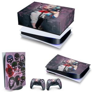 KIT PS5 Capa Anti Poeira e Skin -Arlequina Harley Quinn