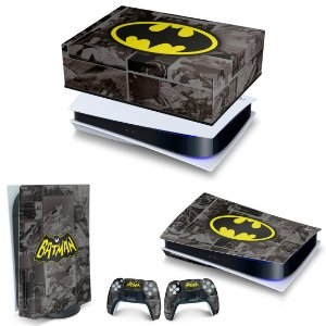 KIT PS5 Capa Anti Poeira e Skin -Batman Comics