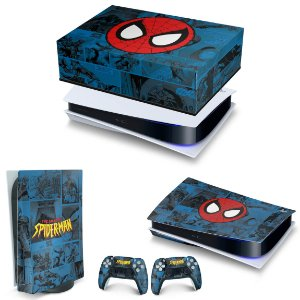 KIT PS5 Capa Anti Poeira e Skin -Homem-Aranha Spider-Man Comics
