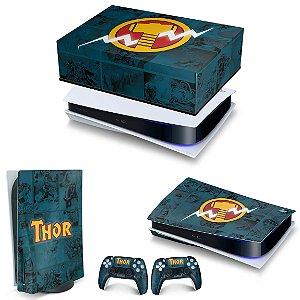 KIT PS5 Capa Anti Poeira e Skin -Thor Comics