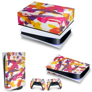 KIT PS5 Capa Anti Poeira e Skin -Abstrato #103