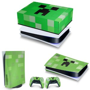 KIT PS5 Capa Anti Poeira e Skin -Creeper Minecraft