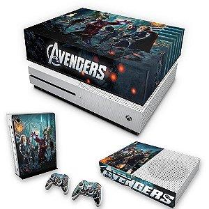 KIT Xbox One S Slim Skin e Capa Anti Poeira - The Avengers - Os Vingadores