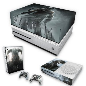 KIT Xbox One S Slim Skin e Capa Anti Poeira - Skyrim