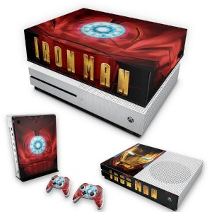 KIT Xbox One S Slim Skin e Capa Anti Poeira - Iron Man - Homem de Ferro