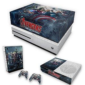 KIT Xbox One S Slim Skin e Capa Anti Poeira - Avengers - Age of Ultron